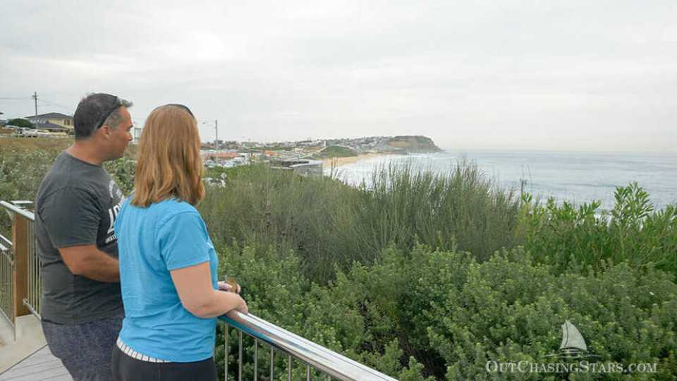 The view at the Newcastle Memorial Walk looking towards Nobbys lighthouse.