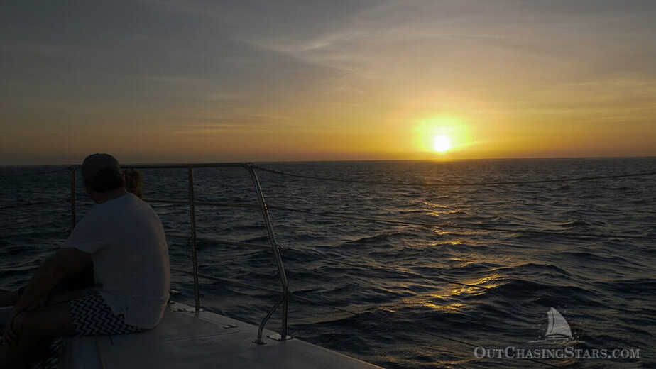 Watching the sunset on Sail Ningaloo.