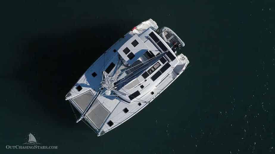 sailing catamaran with solar panels