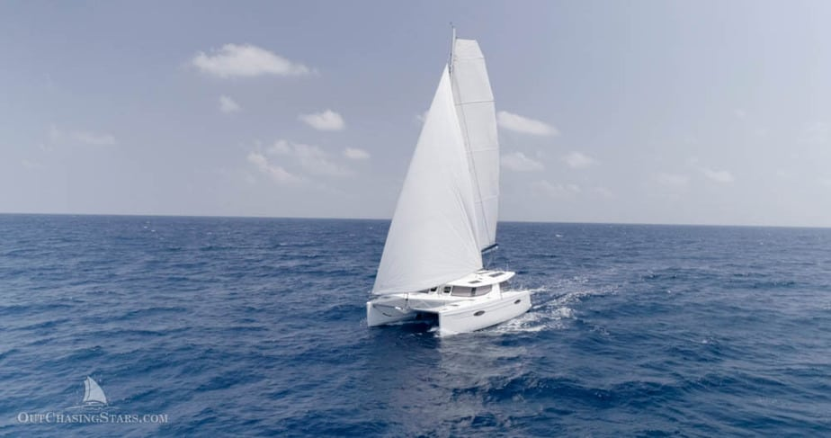 Downwind sailing with the screecher on the windward bow.