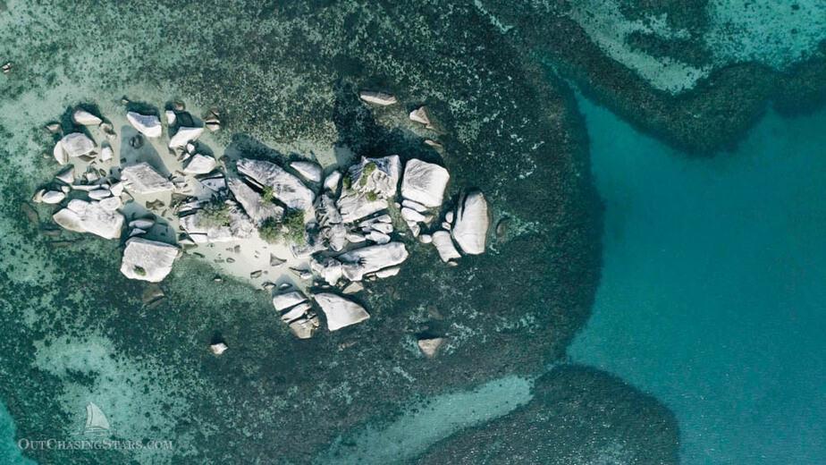 Aerial view of granite boulders in Belitung Indonesia.