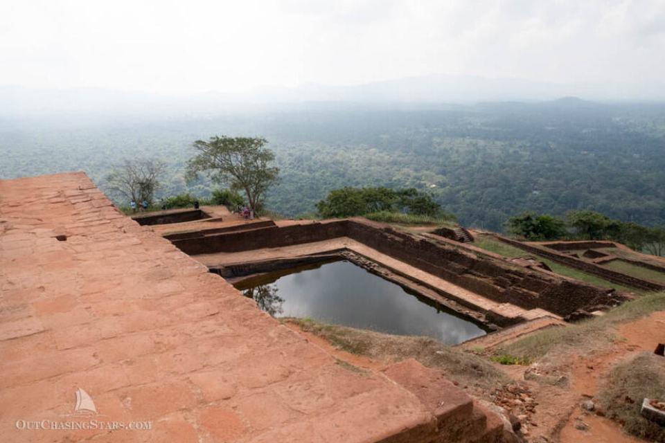 Rock fortress at Sigiriya and view.