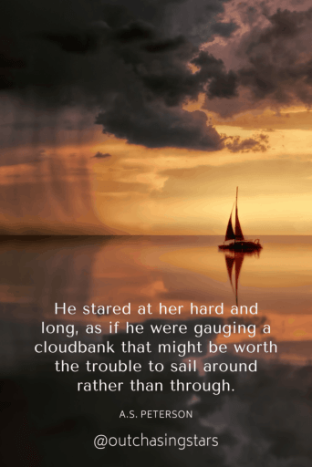 A sail boat approaching a cloud bank in early daylight with a reflection on calm waters and rain ahead.He stared at her hard and long, as if he were gauging a cloudbank that might be worth the trouble to sail around rather than through. - A.S. Peterson50+ Best Sailing Quotes Compiled by Out Chasing Stars