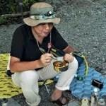 飯能河原で野営キャンプ