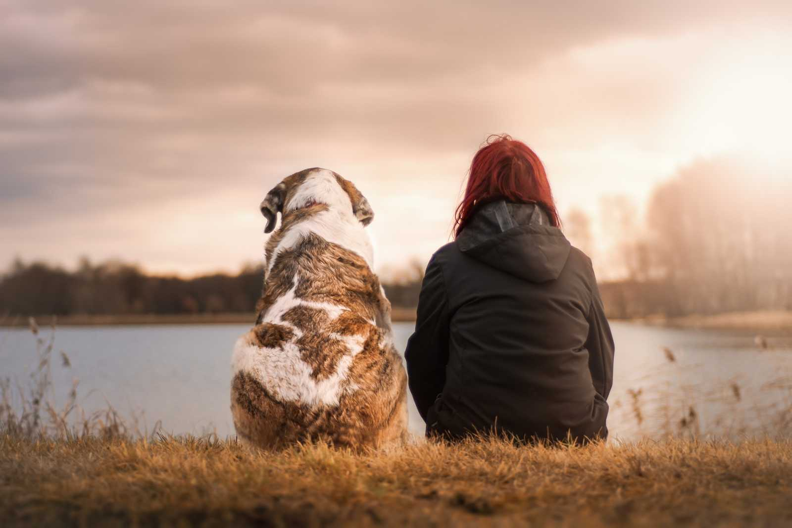 Some sits with a dog near a lake