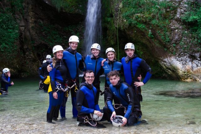 Outdoor Slovenia canyoning activity adventure happy guests