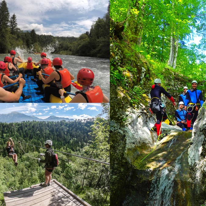 Bled Canyoning Rafting Zipline package collage