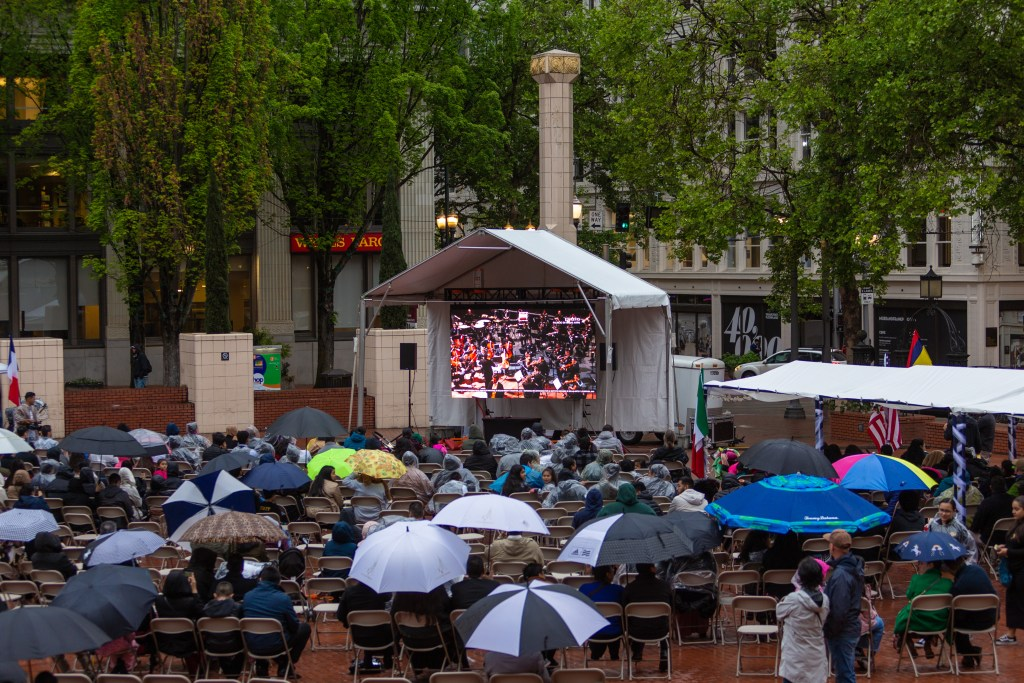 LED Screen at  Pioneer Courthouse Square in Portland, OR