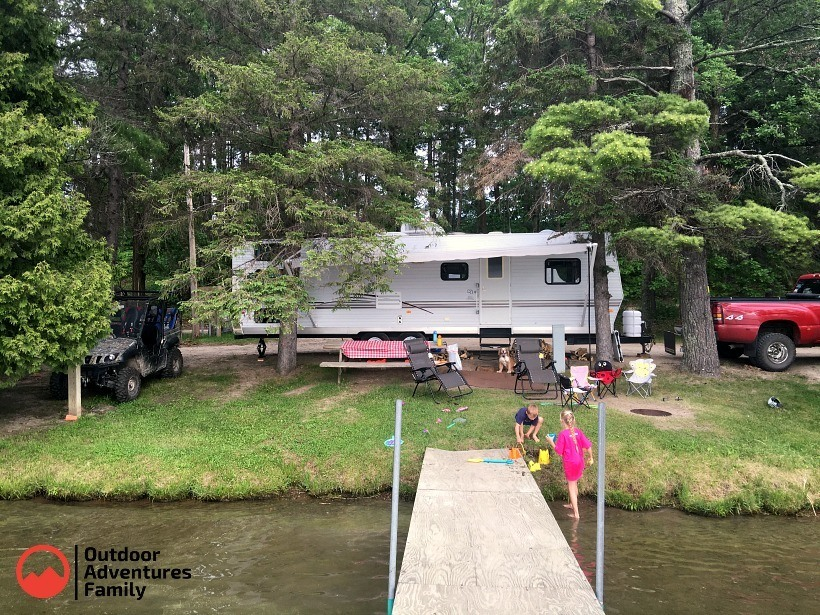 RV at Akeley mn campground on lake site with dock