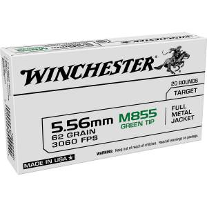 Winchester 5.56x45mm NATO 62-Grain FMJ Ammo
