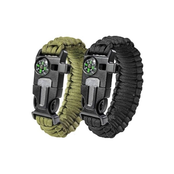 Survival Paracord Bracelet With Fire Starter, Compass, Whistle and Scraper