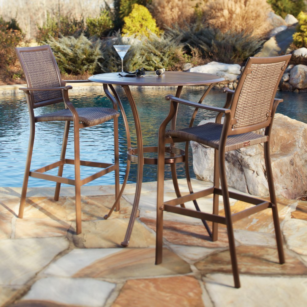 bar height outdoor chairs ideas for designs island cove woven slatted table set: bar height patio chair