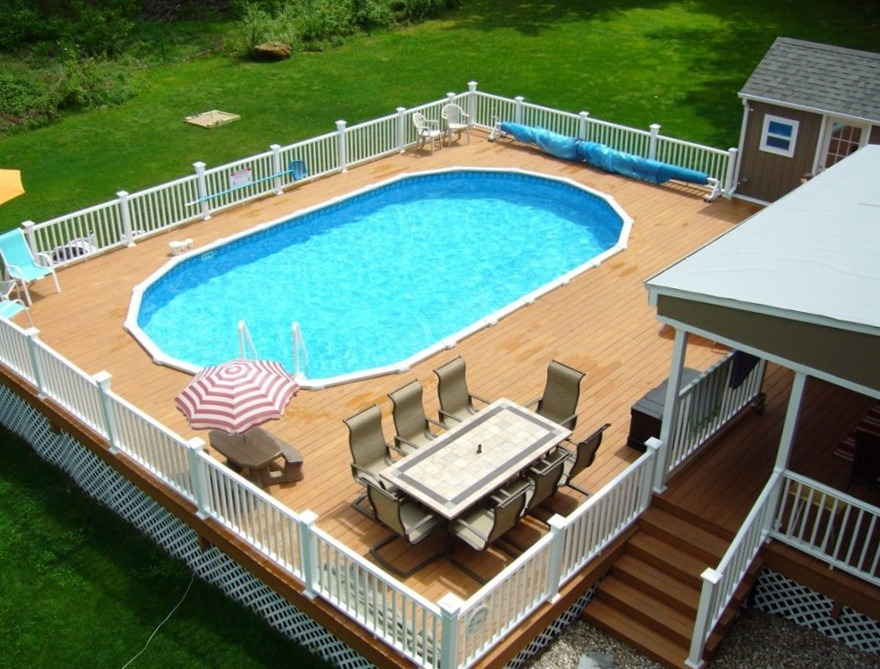 42 above ground pools with decks tips ideas design for Pool deck design plans