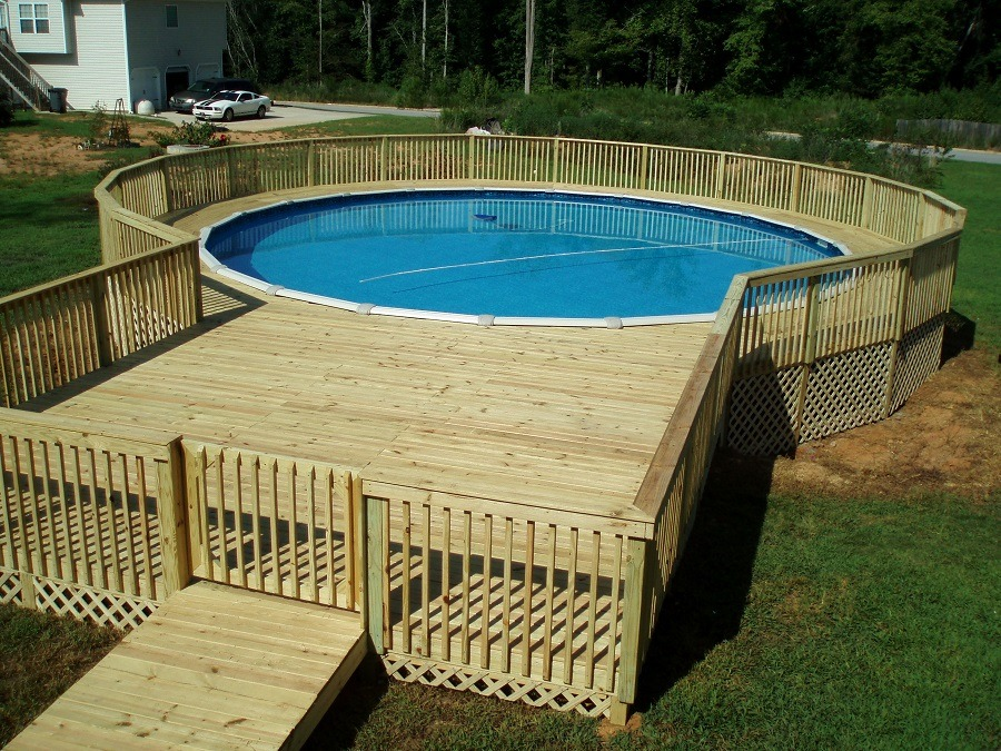 42 above ground pools with decks tips ideas design inspiration outdoor chief for Large above ground swimming pools