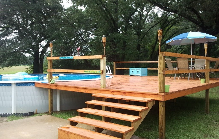 Here We Have A Budget, No Nonsense Approach To Pool Decking. The Steps And  Platform Provide An Entrance To The Pool, With Enough Space For A Seating  Area ...
