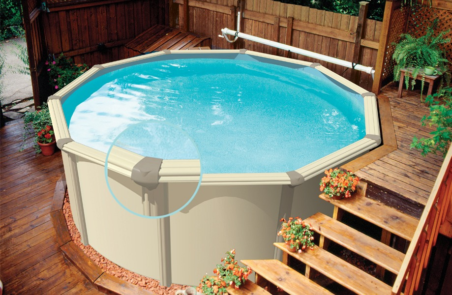 A Small Above Ground Pool Solution Here. Again With The Pool Being Tucked  Up Against A Fence And A Practical Deck And Steps Construction, ...
