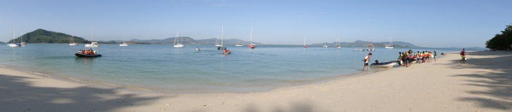 Long sandy beach on tropical island, Thailand