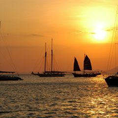 Phang Nga sunset Sailing in Thailand