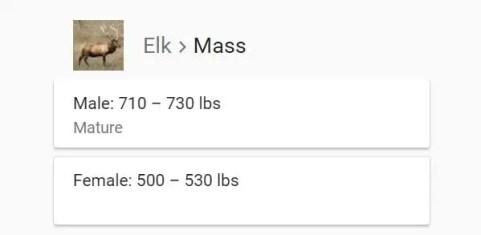 weight of elk