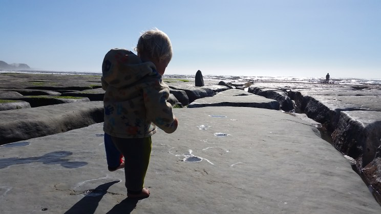 Exploring beach and rock formations