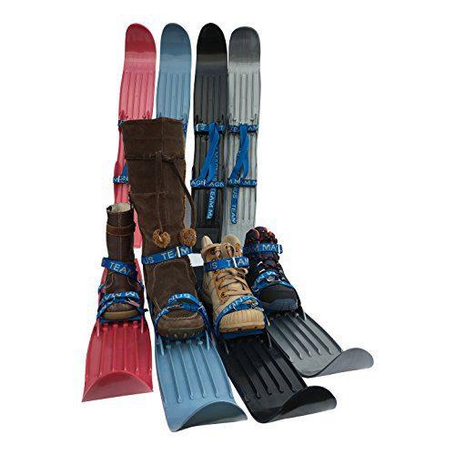 Team Magnus Kids Skis w/ Quality Buckled Straps - 65cm Plastic Mini Snow Skis to Build Cross Country