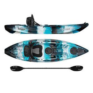 Vibe Kayaks Skipjack 90   9ft Angler - Single Person, Sit On Top Fishing Kayak w/Paddle & Deluxe Kayak Seat