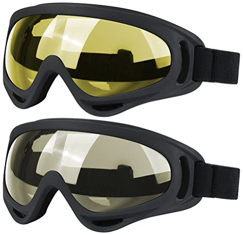 Ski Goggles, 2 Pack Snowboard Goggles Skate Glasses, Motorcycle Cycling Goggles for Kids, Boys & Girls, Youth, Men & Women, with UV 400 Protection, Wind Resistance, Anti-Glare Lenses