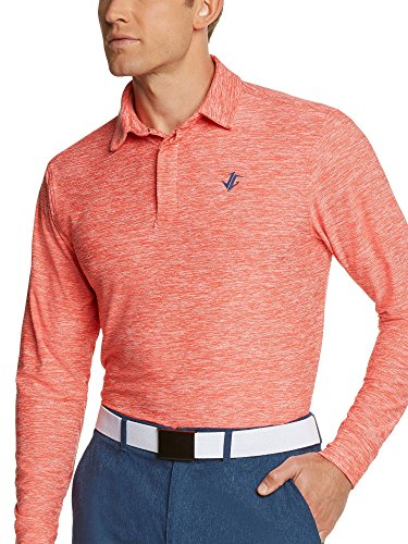 Men's Dry Fit Long Sleeve Polo Golf Shirt, Moisture Wicking and UV Protection