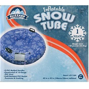 Blizzard King Inflatable Snow Tube Sled Blue Snowflakes 42 Inch