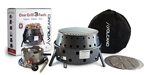 Volcano Grills 3-Fuel Portable Camping Stove/ Fire Pit 3-Fuels: Propane, Charcoal, or Wood (interfaces with standard 20 pound propane tank, or connector for compact containers sold separately)
