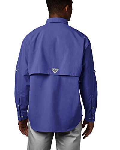 Columbia Men's PFG Bahama II Long Sleeve Breathable Fishing Shirt SUN PROTECTION: Columbia's mark Omni-Shade UPF 30 texture squares UVA and UBA beam to help anticipate sunburn and longter skin harm amid extend periods of time in the sun.  ADJUSTABLE FEATURES: This men's angling shirt highlights catches at arms to change over long sleevs to short sleeves for more sizzling days.  COMFORT & BREATHABILITY: This long sleeve angling shirt highlights shrouded vents at shoulders and 100% nylon brisk dry texture for extreme breathability and comfort.  RELAXED FIT: This men's Columbia PFG long sleeve shirt includes a casual, lightweight fit for most extreme solace amid angling activities