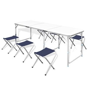 Foldable Camping Table Chair Set Height Adjustable
