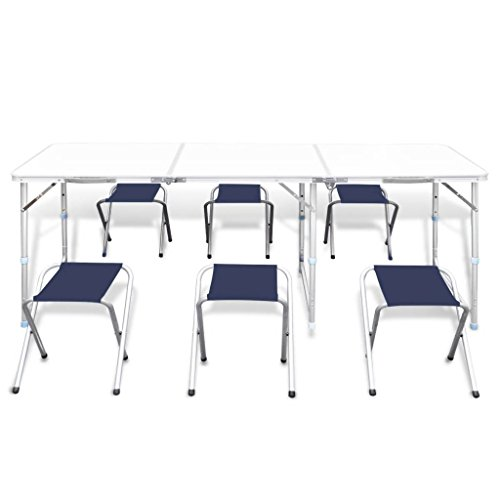 """Foldable Camping Table Chair Set Height Adjustable This foldable outdoors table set comprises of 1 foldable table and 6 foldable stools. Because of the handy conveying handle and the flexible tallness of the table, this set is ideal for utilizations in kitchens, on porches, in patio nurseries, or on picnics and outdoors trips.  The outdoors table set is light in weight. The conveying handle makes it simple to carry the table with you while going out to have an outing or outdoors trip. The table tallness can be changed in accordance with 21.7"""", 24.4"""", and 27.6"""".  Thanks to the tough structure, this outdoors table has a high load limit up to 66.13-110.23 lb. Because of the metal casing and the hearty MDF tabletop, the set is exceptionally steady and durable."""