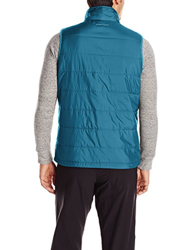Columbia Men's Saddle Chutes Vest Omni-Heat warm intelligent and insulated  Water safe fabric  Binding at armhole, Interior security pocket  Zippered hand pockets  Drawcord flexible hem