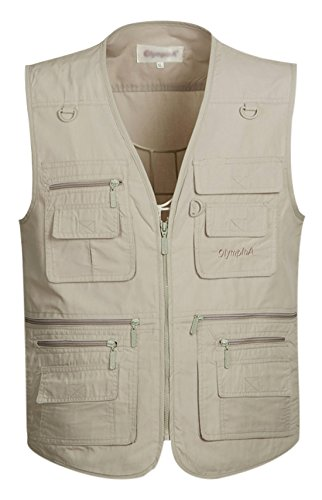 Gihuo Men's Summer Leisure Outdoor Pockets Fish Photo Journalist Vest Plus Size