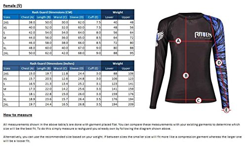 Raven Fightwear Women's The Red Rash Guard MMA BJJ Red Sublimated graphics won't peel or fade offering lengthy lasting sturdiness  Rubber lining on the waist retains rash guard safe throughout motion  Strengthened flatlock stitching for lengthy lasting sturdiness