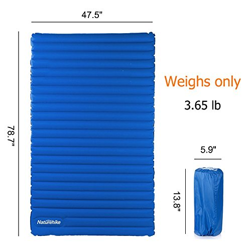 Inflatable Camping Air Mattress with Built-in Foot Pump 【Extremely-gentle and Compact 】 Hikenture double sleeping pad measures 79x47.5x3.75 inches, folded dimension is 13.8x5.9 inches. The 2 particular person tenting mat weighs solely 3.64 lbs (58 oz), is available in a compact packsack for straightforward carrying.  【Straightforward to Inflate/Deflate】Every double vast sleeping pad mattress has 2 valves, one for straightforward inflating with your foot or hand (no pump required) , one other for fast inflation and deflation.  【SLEEP COMFORTABLY 】With 3.75 inch thick, the double tenting air mattress will present sufficient cushion and padding for aspect sleeper, again sleeper or abdomen sleeper, supply a consolation sleep in your journey.