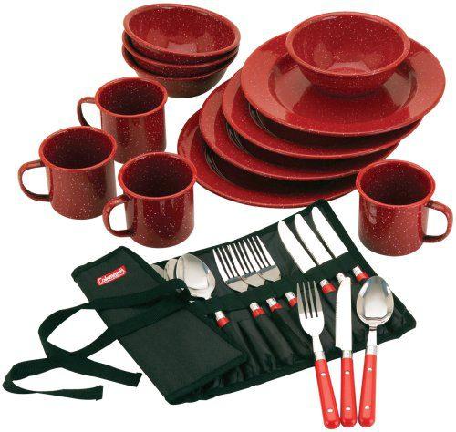 Coleman 24-Piece Enamel Dinnerware Set, Red