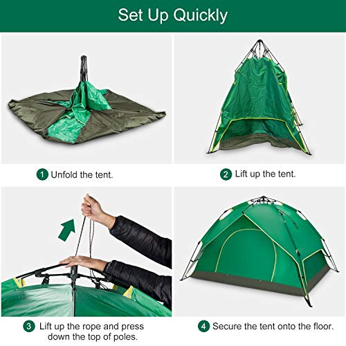 """BATTOP 2-3 Person Tent for Camping Instant Pop Up ✅SET UP QUICKLY: Separate its corners on the ground, after which elevate up merely the rope of prime and press down the highest on the identical time. it is going to automated set up the tents in a number of seconds  ✅HUMANIZED DESIGN: This tenting tent has a semicircle form two-way zipper door on both sides for simple entry and exit. And the excessive density gauze prevents invasion of the mosquitoes and bugs  ✅FAMILY CAPACITY: 90.55"""" L x78.74 W x53.15 H,Roomy for 2-3 Person ,and likewise might match 2 adults and 1 youngsters.It's superb for a household outside"""