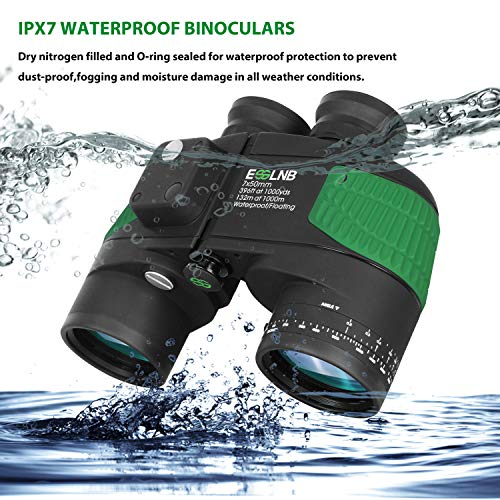 Marine Binoculars with Night Vision Compass Rangefinder  IPX7 Waterproof Binoculars:Dry nitrogen crammed and O-ring sealed for waterproof safety to forestall dust-proof,fogging and moisture injury in all climate situations. So this navigation binoculars is appropriate for outside use.Beneath one meter depth, 100% waterproof and float in water for 30 minutes.So no worries if dropped into the ocean.