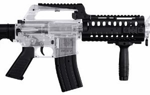Crosman Stinger R37 Spring Powered Tactical Airsoft Rifle, Clear/Black