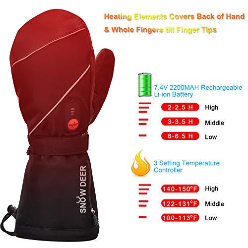 Mens Womens Heated Ski Gloves Mittens, 7.4V 2200MAH Electric Rechargeable Battery Gloves 2019 Upgraded Heated Ski Gloves Men Women