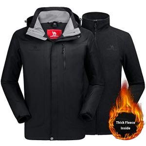 CAMEL CROWN Men's Ski Jacket 3 in 1 Waterproof Winter Jacket Snow Jacket Windproof Hooded with Inner Warm Fleece Coat