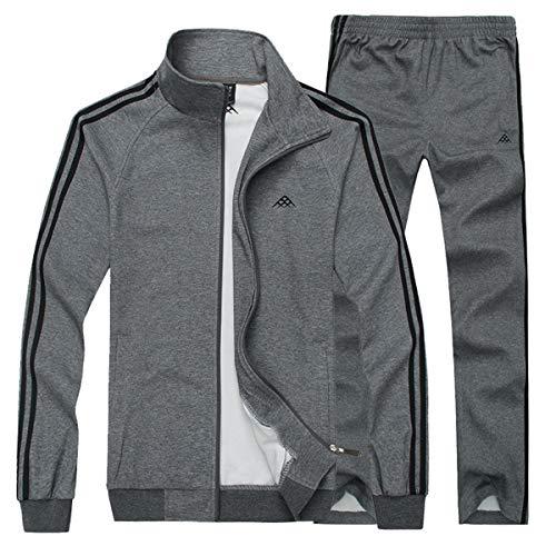 INVACHI Men's Casual 2 Pieces Athletic Full Zip Sports Sets Jacket & Pants Active Fitness Sweat Tracksuit Set