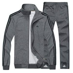 INVACHI Men's Casual 2 Pieces Athletic Full Zip Sports Sets Jacket & Pants Active Fitness Sweat Tracksuit Set