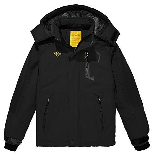 Wantdo Boy's Waterproof Ski Fleece Jacket Thick Winter Coat Hooded Raincoats Outwear