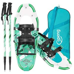 Gpeng 3-in-1 Xtreme Lightweight Snow Shoes Set for Women Men Youth Kids Boys Girls, Light Weight Aluminum Alloy Terrain Snowshoes with Trekking Poles and Carrying Tote Bag, 14/21/27 Inches