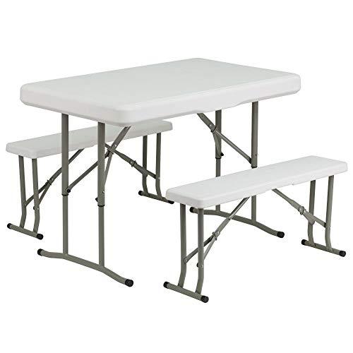 Flash Furniture Plastic Folding Table and Bench Set, DAD-YCZ-103-GG, Granite White