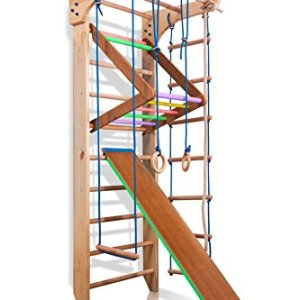 Wall Bars KN-03-220, 87 in Wooden Swedish Ladder Set: Pull Up Bars, Rings, Trapeze, Plank, Horizontal Bars, and Rope Ladder for Training and Physical Therapy - Used in Homes, Gyms, Clinic, and Schools