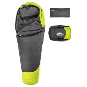 Cascade Mountain Tech Adventure Mummy Sleeping Bag - Lightweight, Compact 3 Season Backpacking Sleeping Bag with Pillow and Compression Sack